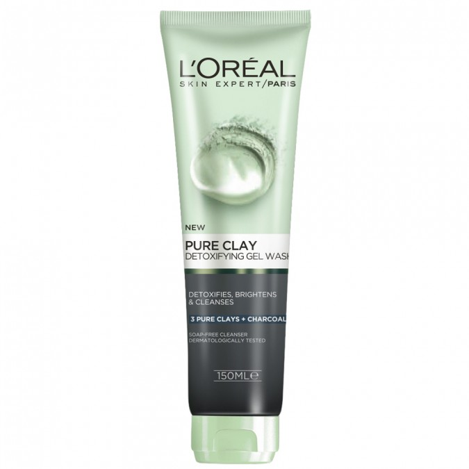 L'oreal Paris Pure Clay Charcoal Detoxifying Gel Wash 150 mL