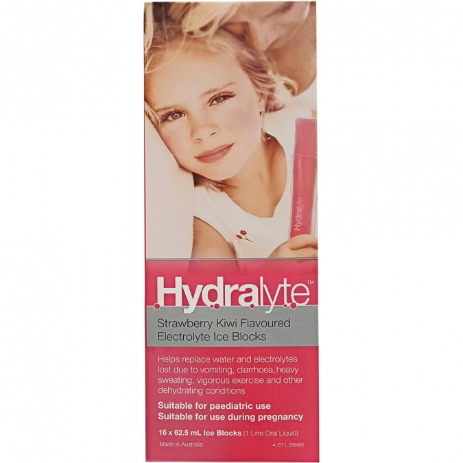 Hydralyte Strawberry Kiwi Flavoured Electrolyte Ice Blocks 16 pack