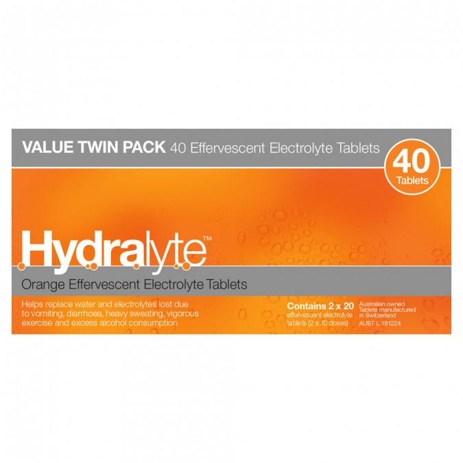 Hydralyte Orange Flavoured Effervescent Electrolyte Tablets 40 tablets