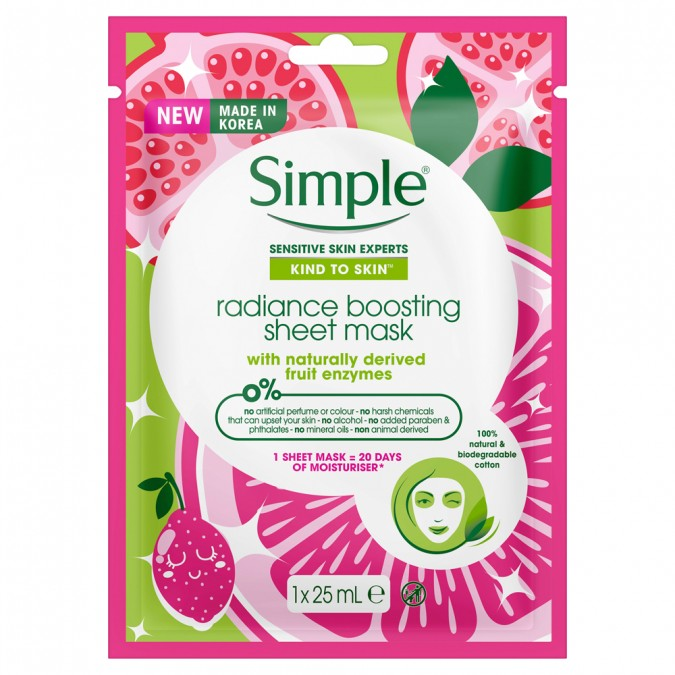 Kind To Skin Radiance Boosting Sheet Mask 25 M L by Simple