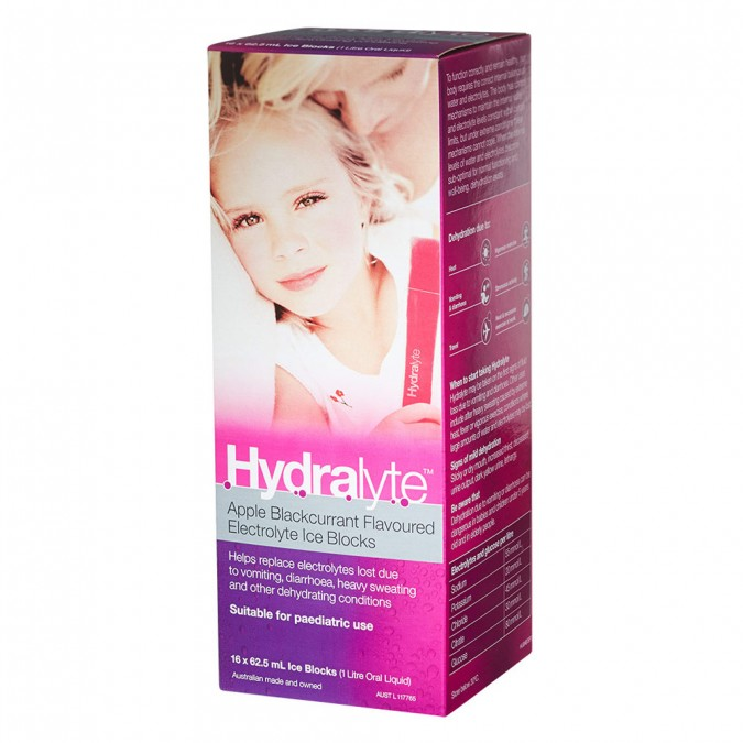 Hydralyte Apple Blackcurrant Flavoured Electrolyte Ice Blocks 16 pack