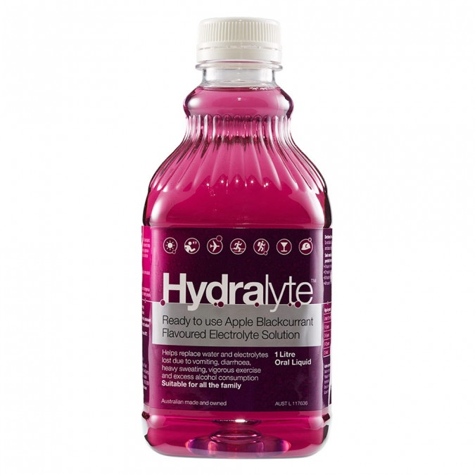 Hydralyte Ready to use Apple Blackcurrant Flavoured Electrolyte 1 L