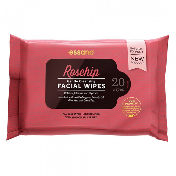 Essano Rosehip Gentle Cleansing Facial Wipes 20 wipes