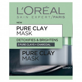 L'oreal Paris Pure Clay Mask: Detoxifying & Brightening Charcoal Mask 50 mL