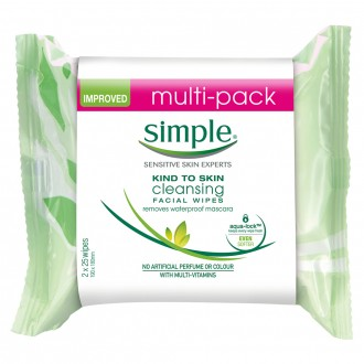 Simple Cleansing Wipes Twin Pack 50 wipes