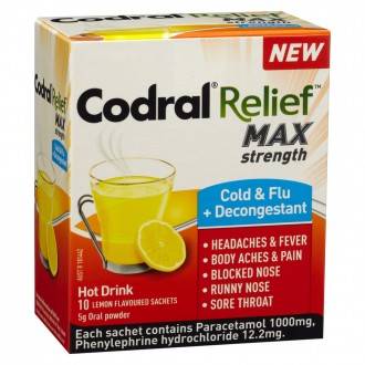 Codral Relief MAX Strength Cold & Flu + Decongestant 10 pack