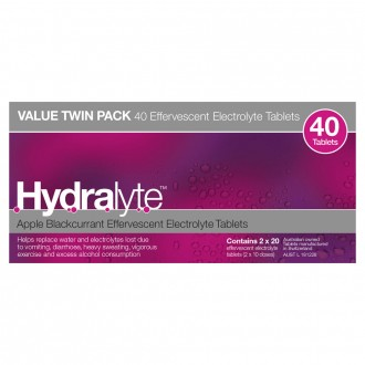 Hydralyte Apple Blackcurrant Flavoured Effervescent Electrolyte 40 tablets