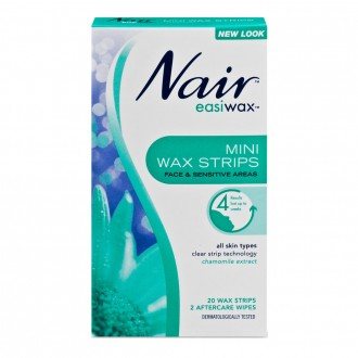 Nair Easiwax Mini Wax Strips For Face, Bikini & Sensitive Areas 20 pack