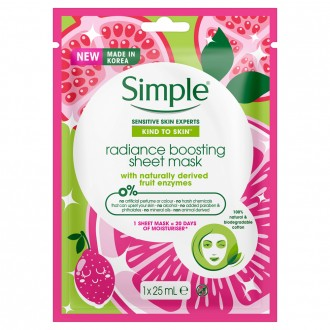 Simple Kind to Skin Radiance Boosting Sheet Mask 25 mL