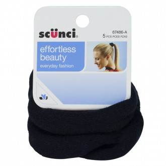 Scunci Knitted Pony Wraps Black 5 pack
