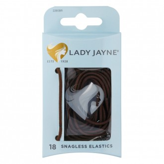 Lady Jayne Elastics, Snagless, Thin, Brown 18 pack
