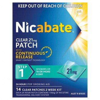 Nicabate Clear Patch 21mg Step 1 14 pack