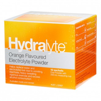 Hydralyte Orange Flavoured Electrolyte Powder 10 pack