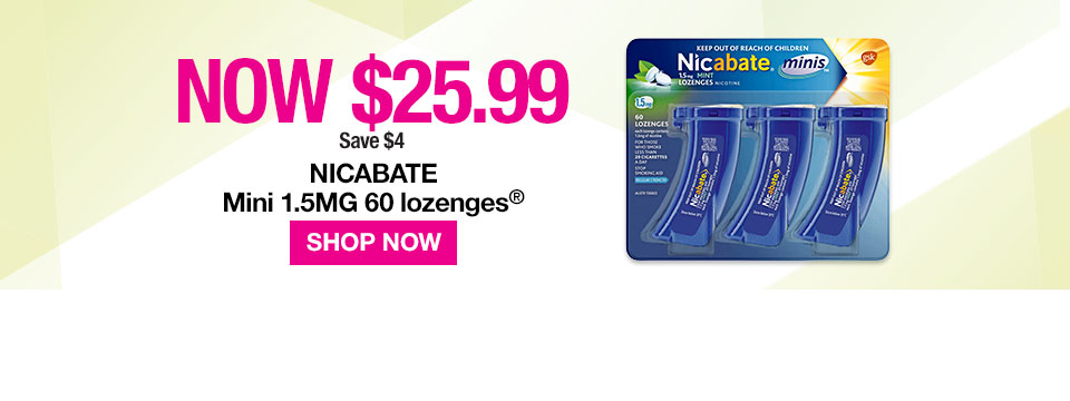 Nicabate Mini 1.5mg Lozenges now $25.99