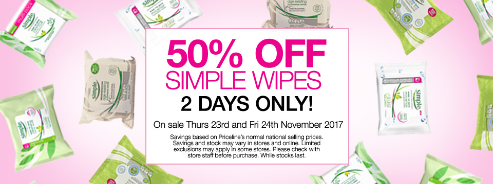 50% off Simple Wipes, 2 Days Only.