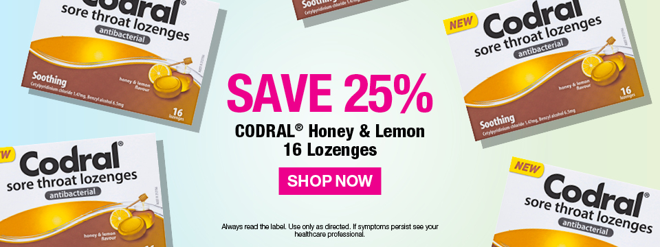 Save 25%  CODRAL  Honey & Lemon 16 Lozenges