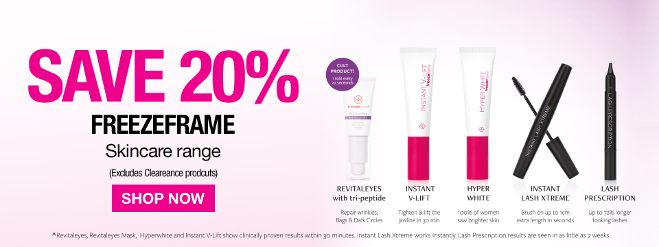 Save 20%  Freezeframe Skincare Range