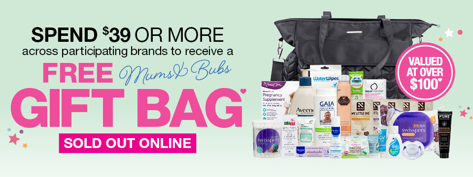 SPEND 39 OR MORE AND GET A FREE MUMS BUBS GIFT BAG