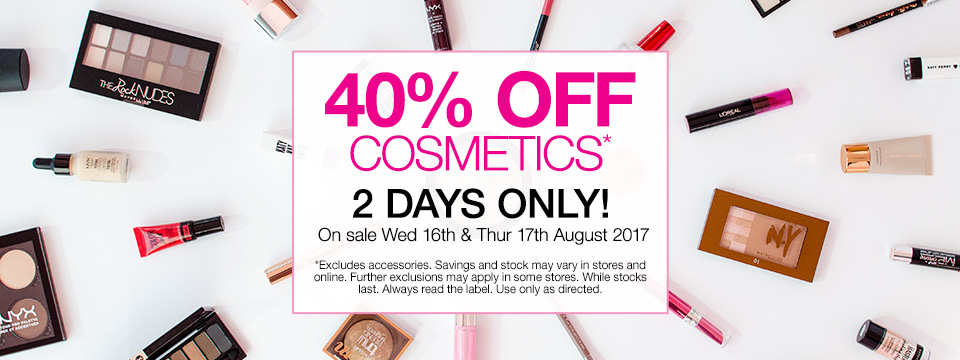 Save 40% Off Cosmetics 2 Days Only SHOP NOW