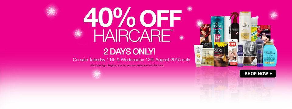 Save 40% off haircare for 2 days only at Priceline.