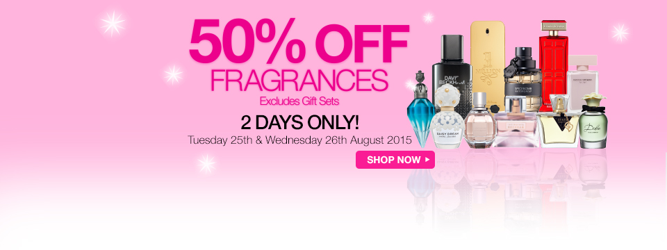 Save 50% off all fragrances for 2 days only at Priceline.
