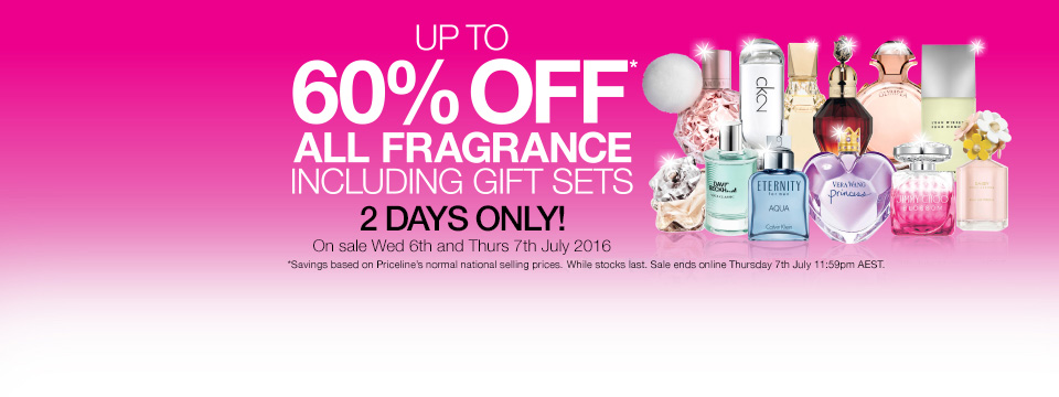 Save up to 60% off all fragrances including gift sets just for 2 days only at Priceline.