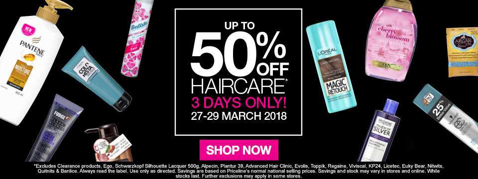 Up to 50% off haircare 3 days only! 27-29 march SHOP NOW
