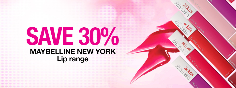 Save 30% on Maybelline Lip range