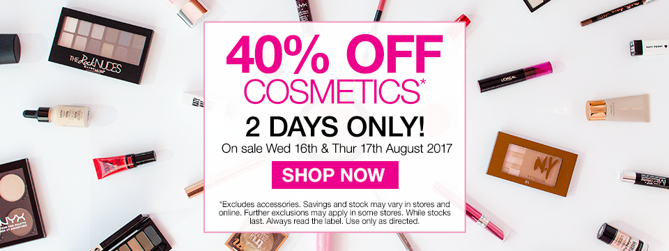 40% Off Cosmetics  2 Days Only SHOP NOW