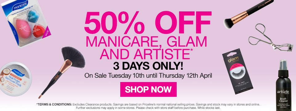 50% off Manicare, Glam and Artiste