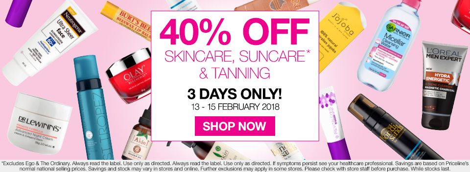 Save 40% Off Skincare, Suncare and Tanning, 3 Days Only!