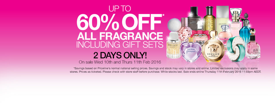 Save up to 60% off all fragrances, including gift sets for 2 days only at Priceline.